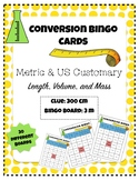 Metric and US Customary Conversion Bingo Cards