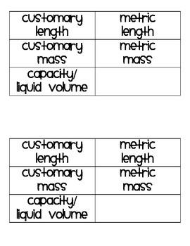 Metric vs. Customary Measurement Sort