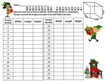 Metrics Length Measurement Practice  Review- Holiday Christmas themed Task Cards