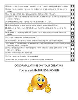 Metrics Measurement Challenge Review Assessment-follow directions, draw a robot
