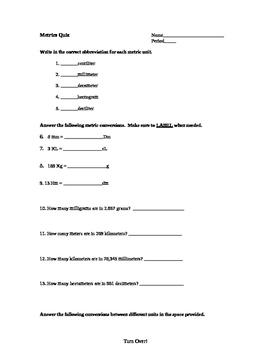Metrics Quiz
