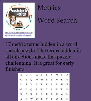 Metrics word search (17 terms)