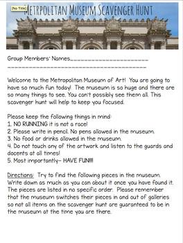 Metropolitan Museum of Art Scavenger Hunt