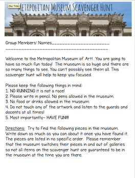 Metropolitan Museum of Art Scavenger Hunt- 5th Avenue New York City