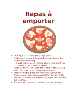 Mets à emporter Food Unit Activity FRENCH