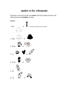 Mettre and Clothing Vocabulary Practice