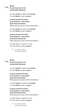 Mettre conjugation song