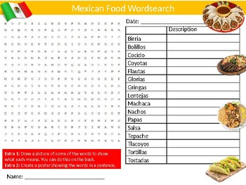 Mexican Foods Wordsearch Puzzle Sheet Keywords Country Food Science Nutrition