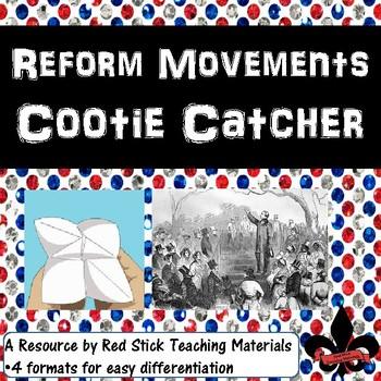 Reform Movements American War Cootie Catcher