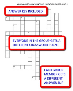 Mexican-American War: Interdependent Crossword Puzzles Activity