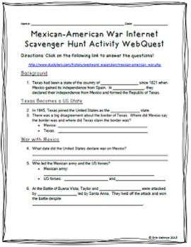 Mexican-American War Internet Scavenger Hunt WebQuest Activity