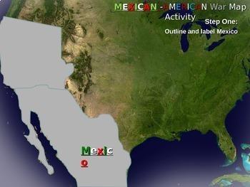 Mexican-American War Map Activity: Fun, engaging follow-along 25-slide PPT