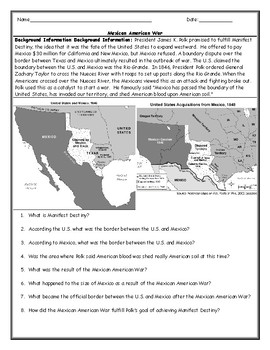 Mexican American War Map Worksheet with Answer Key