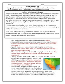 Mexican American War Polks Message to Congress (Adapted) with Answer Key