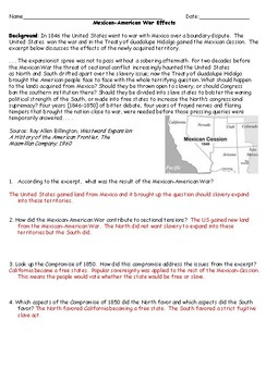 Mexican American War Results Worksheet with Answer Key