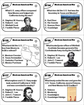 Mexican American War Task Cards Activity