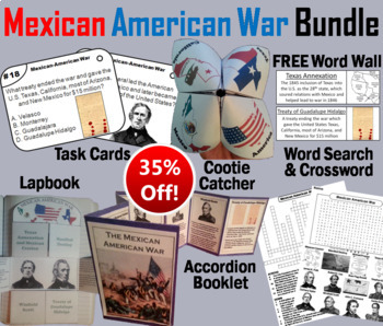 Mexican American War Task Cards and Activities Bundle