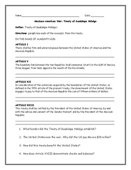 Mexican American War Treaty of Guadalupe Hidalgo Worksheet with Answer Key