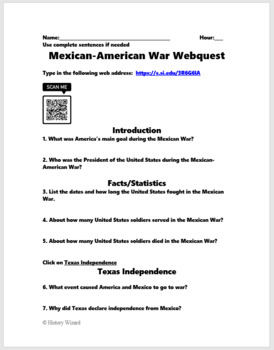 Mexican American War Webquest