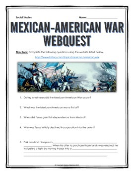 Mexican-American War - Webquest with Key