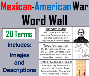 Mexican American War Word Wall Cards