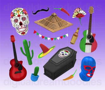 Mexican Clipart - Mexico Cinco De Mayo Party Digital PNG Graphics