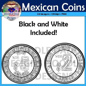 Mexican Coins Clip Art (Pesos, Centavos, Cents, Dollars, Money, realistic)