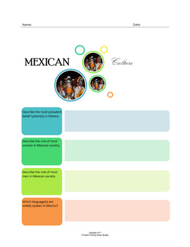 Mexican Culture:  A Fillable Fact-Finding Sheet
