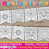 Mexican Fiesta B & W Coloring Banner Bunting Papel Picado Cinco de Mayo May 5