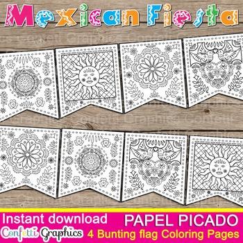 Mexican Fiesta B & W Coloring Banner Bunting Papel Picado