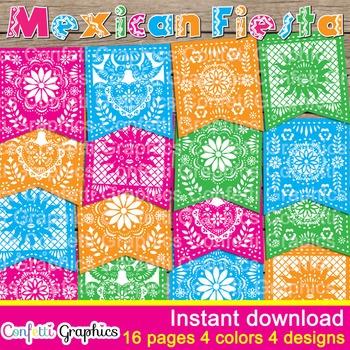 Mexican Fiesta Banner Bunting Papel Picado Party Pennant Decor Cinco Mayo May 5