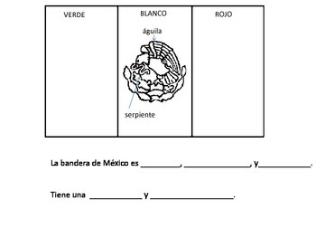 Mexican Flag with Spanish Vocabulary and Sentence Stems Cinco de Mayo