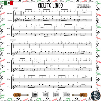 Mexican Folk Songs for GUITAR *Color & B+W* (Grades 6-12)