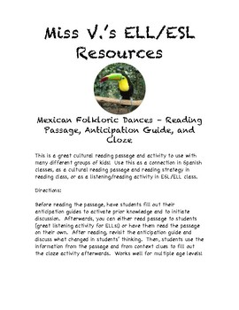 Mexican Folklore Dances - ESL/ELL and Cultural reading pas