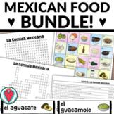 Mexican Food BUNDLE - BILINGUAL Bingo, Word Search & Crossword