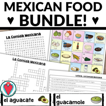 Mexican Food BUNDLE - Bingo, Word Search & Crossword