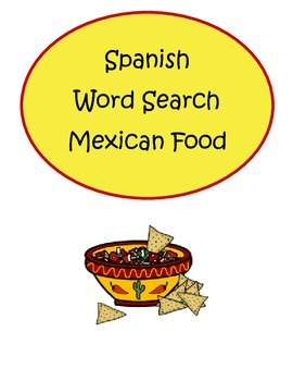 Mexican Food Spanish Word Search Vocabulary Puzzle