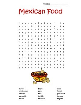 Mexican Food Item Crossword