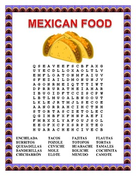 Mexican Food Word Search and Double Puzzle- Cinco de Mayo ...
