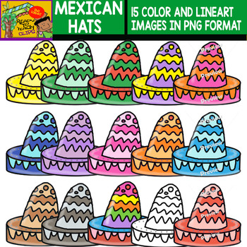 Mexican Hats - Cliparts Set - 15 Items