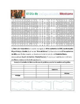 Mexican Independence Day Activity Page