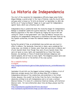 Mexican Independence Day Resources