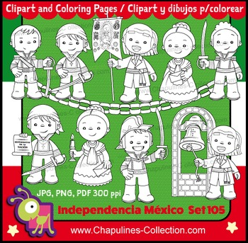 Mexican Independence clip art Black & White, Heroes, Coloring Pages set 105