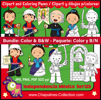 Mexican Independence clip art, Heroes, Color and B/W Bundl