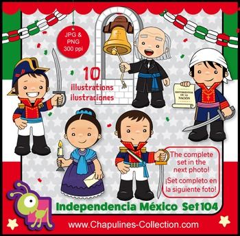 Mexican Independence clip art, Heroes, México illustration