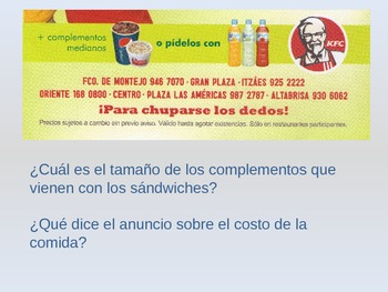Mexican KFC.  Using Spanish to understand a KFC brochure
