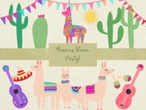 Mexican Llama Party Vector Clip Art Pack, High Resolution,