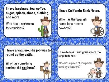 Mexican Rancho I Have Who Has? Game Reviews land grants vaqueros disenos...