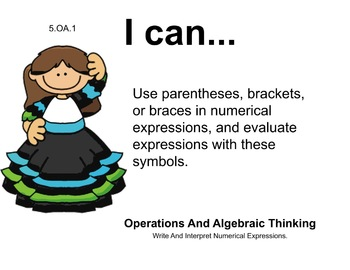 Mexican Theme 5th grade math Common Core Posters Fifth Grade Standards