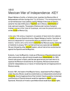Mexican War of Independence -- CLOZE Reading
